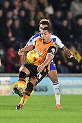 Jake Livermore of Hull City kicks forward  during the Sky Bet Championship match between Hull City and Reading at the KC Stadium, Kingston upon Hull, England on 16 December 2015. Photo by Ian Lyall.