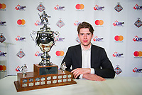 REGINA, SK - MAY 26: Goaltender of the Year Carter Hart of the Everett Silvertips at the Brandt Centre on May 26, 2018 in Regina, Canada. (Photo by Marissa Baecker/CHL Images)