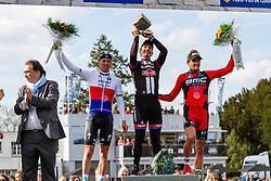 Podium, John Degenkolb (Ger) Team Giant-Alpecin, Zdenek Stybar (Cze) Etixx - Quick-Step, Greg Van Avermaet (Bel) BMC Racing Team, Paris-Roubaix, UCI WorldTour, France, 12 April 2015, Photo by Thomas van Bracht / PelotonPhotos.com