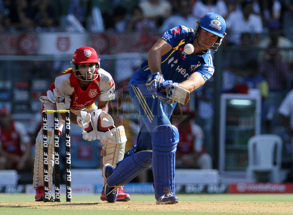 Mumbai Indian player James Franklin plays a shot during match 28 of the Indian Premier League ( IPL) 2012  between The Mumbai Indians and the Kings X1 Punjab held at the Wankhede Stadium in Mumbai on the 22nd April 2012..Photo by: Vipin Pawar/IPL/SPORTZPICS