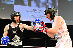 Toby Coles (pink) and Steve Duryee (black) boxing at the Boodles Boxing Ball, in association with Argentex and YouTube in Support of Hope and Homes for Children at Old Billingsgate London, United Kingdom - 7 Jun 2019 Photo Dominic O'Neil