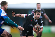 Bob Beswick (R) of Toronto Wolfpack  on the attack against Joe Bullock (L) of Barrow Raiders during the Betfred Championship match at Craven Park, Barrow-in-Furness<br /> Picture by Stephen Gaunt/Focus Images Ltd +447904 833202<br /> 11/02/2018