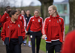 CARDIFF, WALES - Thursday, April 4, 2019: Wales' Ffion Morgan (L) and Elise Hughes during a pre-match team walk at the Vale Resort ahead of an International Friendly match between Wales and Czech Republic at Rodney Parade. (Pic by David Rawcliffe/Propaganda)