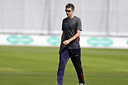 Lancashires Graham Onions  warms up prior to the Specsavers County Champ Div 2 match between Lancashire County Cricket Club and Northamptonshire County Cricket Club at the Emirates, Old Trafford, Manchester, United Kingdom on 14 May 2019.