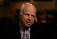Senator John McCain R-AZ answers questions during an interviewin Senator McCain's office on Capitol Hill on  January 5, 2007.  Photograph: Dennis Brack