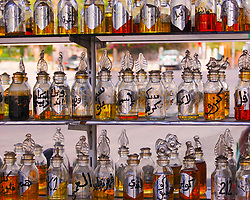 Colorful perfume bottles in the Red Sea-side city of Aqaba, Jordan