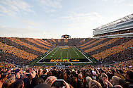 October 15, 2011: Kinnick Stadium is striped black and gold on Spirit Day as the team takes the field before the start of the NCAA football game between the Northwestern Wildcats and the Iowa Hawkeyes at Kinnick Stadium in Iowa City, Iowa on Saturday, October 15, 2011. Iowa defeated Northwestern 41-31.