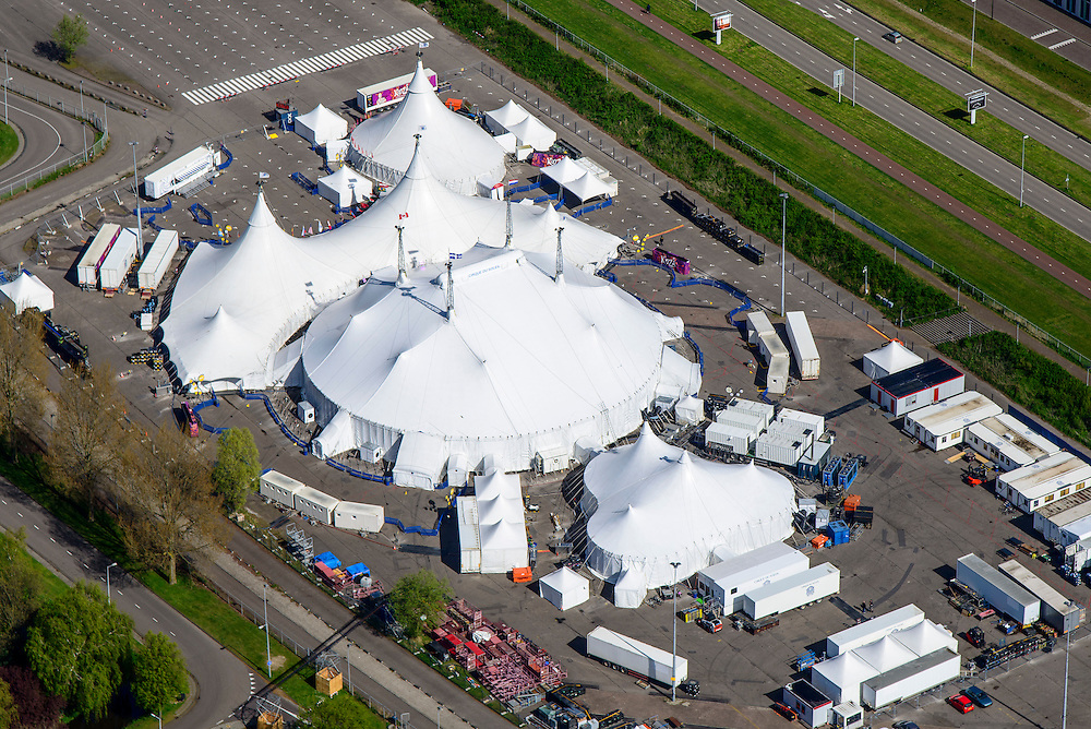 Nederland, Noord-Holland, Duivendrecht, 09-04-2014; Sportpark de Toekomst met tenten van Cirque du soleil. Sportcomplex De Toekomst is de thuisbasis van AFC Ajax.<br /> The sports complex The Future, the home of AFC Ajax.<br /> luchtfoto (toeslag op standard tarieven);<br /> aerial photo (additional fee required);<br /> copyright foto/photo Siebe Swart
