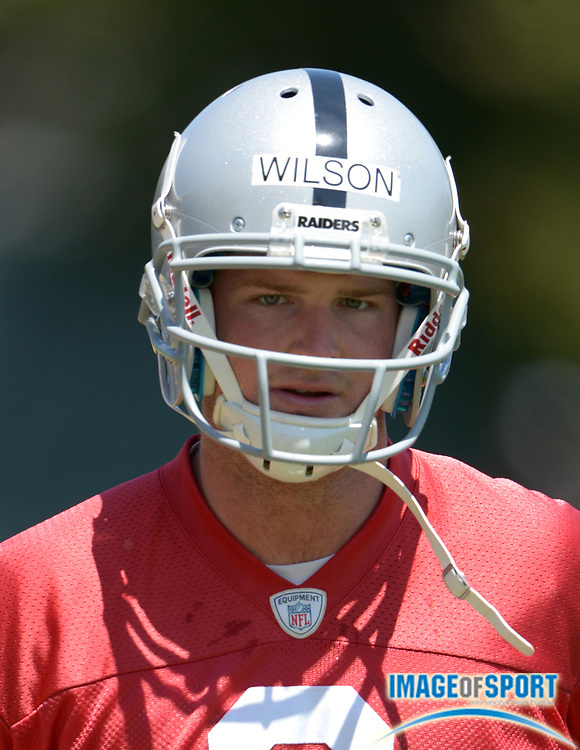 Jun 11, 2013; Alameda, CA, USA; Oakland Raiders quarterback Tyler Wilson (8) at minicamp at the Raiders Practice Facility.