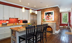 fireplace. Kitchen