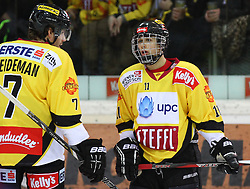 18.01.2012, Albert Schultz Eishalle, Wien, AUT, EBEL, UPC Vienna Capitals vs EC KAC, 43. Runde, im Bild Adrian Veideman, (UPC Vienna Capitals, #7) und Sascha Bauer, (UPC Vienna Capitals, #11)  // during the Erste Bank Icehockey League 43rd Round match betweeen UPC Vienna Capitals and EC KAC at the Albert Schultz Ice Arena, Vienna, Austria on 2013/01/18. EXPA Pictures © 2013, PhotoCredit: EXPA/ Thomas Haumer