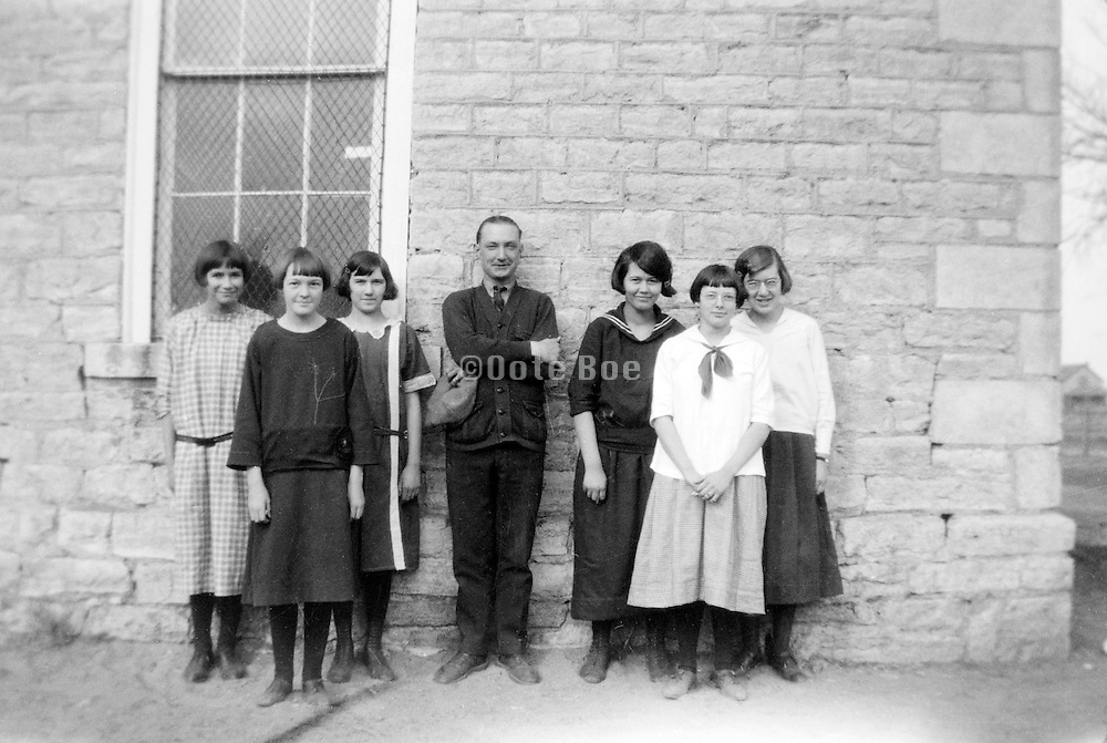 USA 1920s rural school with young adult female students