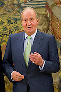 060214 Spanish King Juan Carlos attends his first audience after his comunication of abdication