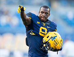 Sep 5, 2015; Morgantown, WV, USA; West Virginia Mountaineers safety KJ Dillon points to the crowd prior to their game against the Georgia Southern Eagles at Milan Puskar Stadium. Mandatory Credit: Ben Queen-USA TODAY Sports