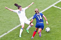 09.07.2011, FIFA Frauen-WM-Stadion Leverkusen, Leverkusen, GER, FIFA Women Worldcup 2011, Viertelfinale, England (ENG) vs. Frankreicht (FRA), im Bild:  Karen Carney (England) (L) gegen Louisa Necib (Frankreich) (R).. // during the FIFA Women´s Worldcup 2011, Quaterfinal, England vs France on 2011/07/09, FIFA Frauen-WM-Stadion Leverkusen, Leverkusen, Germany.   EXPA Pictures © 2011, PhotoCredit: EXPA/ nph/  Mueller *** Local Caption ***       ****** out of GER / CRO  / BEL ******