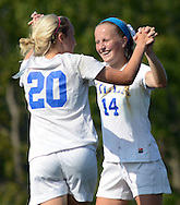 Villa Joseph Marie's Casey Kilchrist #20 and Murphy Agnew #14 celebrate a goal against Gwynedd Mercy Academy in the first half of a girls soccer game at Villa Joseph Marie Tuesday September 8, 2015 in Richboro, Pennsylvania.  (Photo by William Thomas Cain)