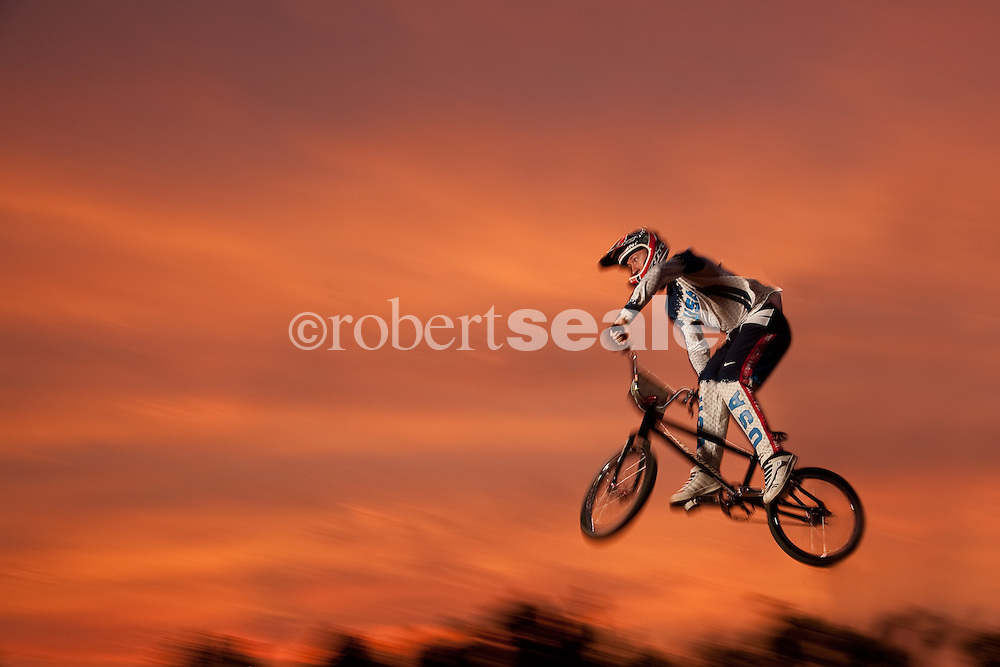 Kyle Bennett, Bicycle Motocross (BMX) racer and member of the first ever BMX Olympic Team at a BMX track near his home in Conroe, Texas on Tuesday, May 5, 2009 . ©2009 Robert Seale..© 2009 Robert Seale.  .Robert Seale Photography.www.robertseale.com.832-654-9572