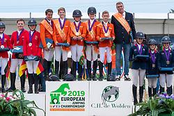 Team Netherlands, Bockern Emma, Vos thijmen, Dolfijn Jorinde, Boerenkamp Finn, de Boer Wesley, <br /> Team Germany, Bleicher Tiara, Thillmann Test Leni, Tietje Romy Rosalie, Roth Milka, Herold Kiera-Malin <br /> Team England, Kyle Tabitha, Gachoud Amelie, Lemieux Cloe, Jones , Farman Phoebe<br /> European Jumping Championship Children<br /> Zuidwolde 2019<br /> © Hippo Foto - Dirk Caremans<br /> Team Netherlands, Bockern Emma, Vos thijmen, Dolfijn Jorinde, Boerenkamp Finn, de Boer Wesley,