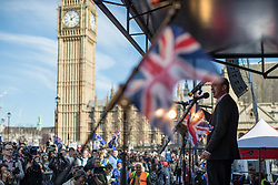 © Licensed to London News Pictures . 25/03/2017 . London , UK . TIM FARRON , Lib Dem Leader speaks . A Unite for Europe anti Brexit march through central London , from Park Lane to Westminster . Protesters are campaigning ahead of the British government triggering Article 50 of the Lisbon Treaty which will initiate Britain's withdrawal from the European Union . Photo credit : Joel Goodman/LNP