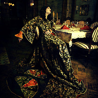 A young woman wearing a long gown in a dining room