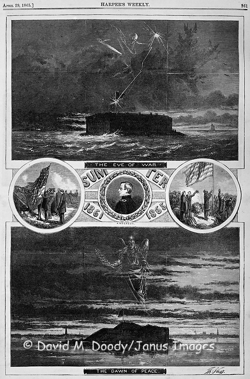 """Civil War: Fort Sumter 1861 before and after the War 1865 by Thomas Nast  """"the Eve of War, the Dawn of Peace""""   A lightning bolt from the grim reaper in 1861 and the angel of peace in 1865.  Vintage Illustration by Thomas Nast. Charleston,  South Carolina   Harper's Weekly April 29, 1865"""