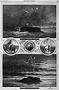 "Civil War: Fort Sumter 1861 before and after the War 1865 by Thomas Nast  ""the Eve of War, the Dawn of Peace""   A lightning bolt from the grim reaper in 1861 and the angel of peace in 1865.  Vintage Illustration by Thomas Nast. Charleston,  South Carolina   Harper's Weekly April 29, 1865"