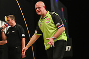 Michael van Gerwen misses a shot at double during the BWIN Grand Slam of Darts at Aldersley Leisure Village, Wolverhampton, United Kingdom on 18 November 2018.