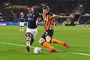 Hull City defender Ondrej Mazuch (3) and Millwall FC defender Mahlon Romeo (12) during the EFL Sky Bet Championship match between Hull City and Millwall at the KCOM Stadium, Kingston upon Hull, England on 6 March 2018. Picture by Ian Lyall.