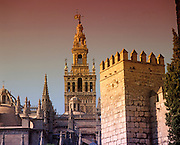 SPAIN, ANDALUSIA, SEVILLE the Giralda; famous tower c.1184