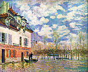 L'inondation à Port-Marly' (Flood at Port-Marly) 1876.  Oil on canvas. Alfred Sisley (1839-1899) French-born English landscape painter. Men in punt outside an inn in flooded  winter landscape .  Water Sky  Trees