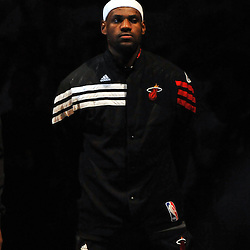 Jun 17, 2012; Miam, FL, USA; Miami Heat small forward LeBron James (6) listens to the National Anthem before game three in the 2012 NBA Finals against the Oklahoma City Thunder at the American Airlines Arena. Mandatory Credit: Derick E. Hingle-US PRESSWIRE
