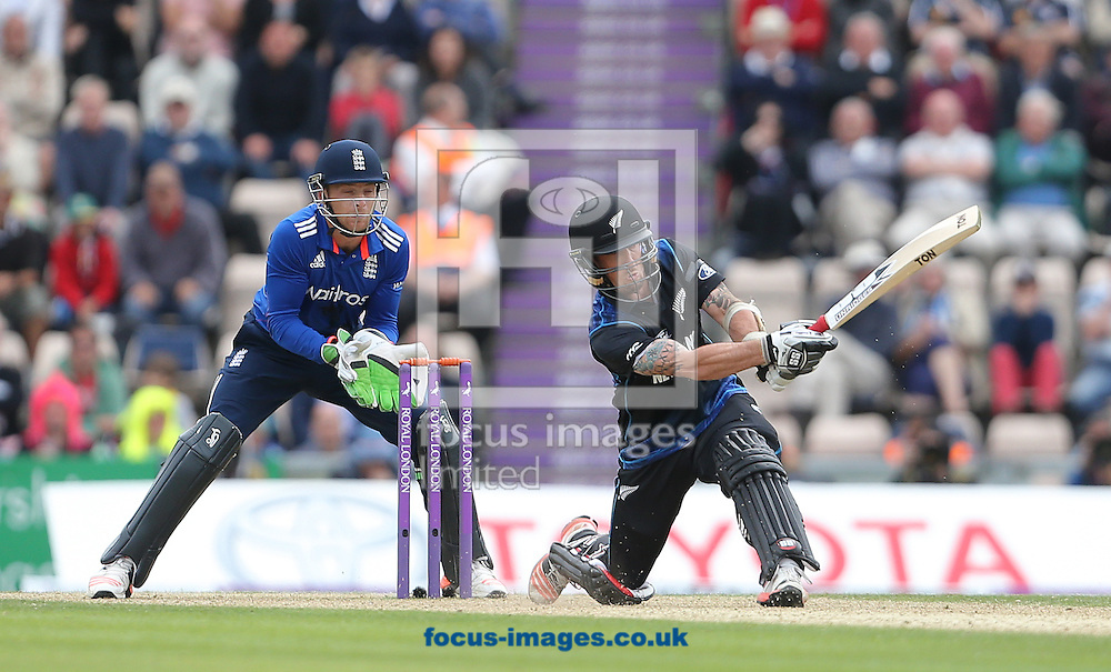 Luke Ronchi of New Zealand plays a shot during the Royal London One Day Series match at the Ageas Bowl, West End<br /> Picture by Paul Terry/Focus Images Ltd +44 7545 642257<br /> 14/06/2015