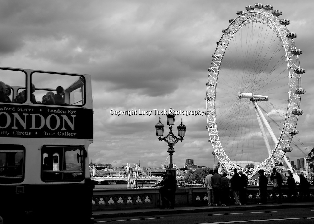 London bus, London eye, Black and White Photo of London Eye and Bus, Landscape Print