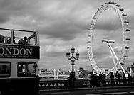 London bus, London eye, Black and White Photo of London Eye and Bus, Landscape Print