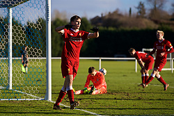 BLACKBURN, ENGLAND - Saturday, January 6, 2018: Liverpool's Liam Millar celebrates scoring the sixth goal during an Under-18 FA Premier League match between Blackburn Rovers FC and Liverpool FC at Brockhall Village Training Ground. (Pic by David Rawcliffe/Propaganda)