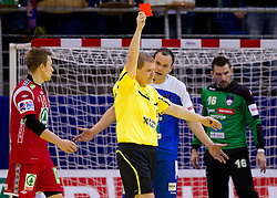Referee Horacek of Czech republic and Uros Zorman of Slovenia during handball match between Norway and Slovenia in Preliminary Round of 10th EHF European Handball Championship Serbia 2012, on January 16, 2012 in Millennium Center, Vrsac, Serbia. Norway defeated Slovenia 29-28. (Photo By Vid Ponikvar / Sportida.com)