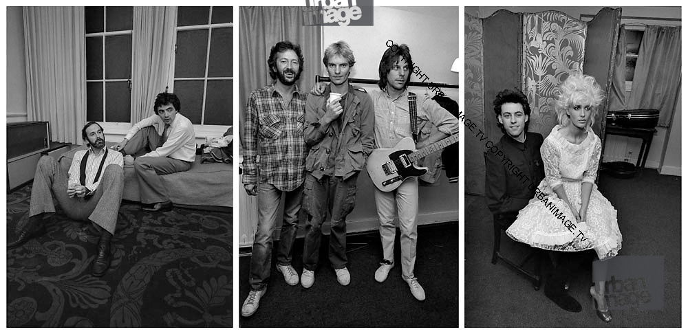 Sting, Chas Jankel and Eric Clapton backstage Secret Policemans Ball - 1982