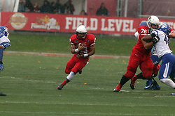 31 October 2015:  Jamal Towns(13) finds some room to run in part due to the efforts of Dan Pawlak(76) against Jonas Griffith(46) during the NCAA FCS Football between Indiana State Sycamores and Illinois State Redbirds at Hancock Stadium in Normal IL (Photo by Alan Look)