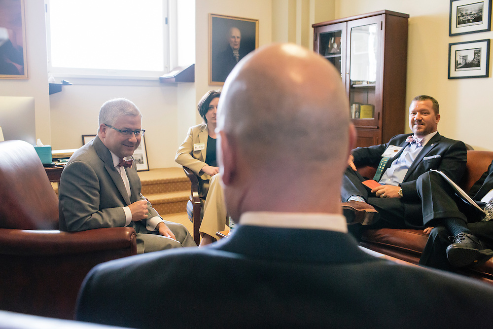 U.S. Rep. Patrick McHenry (R-N.C.), the chief deputy whip of House Republicans, has a meeting with constituents at his office in the U.S. Capitol on April 23, 2015. McHenry is considered one of the fastest-rising stars of House Republicans.