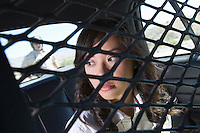 Young woman in back of police car