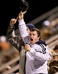 St. Peters fans celebrate after their team scored a goal.  The Virginia Cavaliers defeated the Saint Peters Peacocks 3-1 in the first round of the NCAA Men's Soccer tournament held at Klockner Stadium in Charlottesville, VA on November 24, 2007.