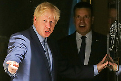 © Licensed to London News Pictures. 06/08/2019. London, UK. British Prime Minister BORIS JOHNSON (L) and Prime Minister of Estonia and Leader of the Centre Party JÜRI RATAS (R) outside no 10 Downing Street. Photo credit: Dinendra Haria/LNP
