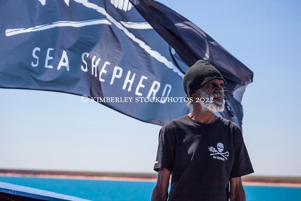 Goolarabooloo traditional owner Richard Hunter looks for whales onboard Sea Shepherd's Steve Irwin during Operation Kimberley Miinimbi.