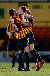 Andrew Halliday of Bradford City (R) celebrates with Rory McArdle (L) after scoring a goal to make it 3-0 - Photo mandatory by-line: Rogan Thomson/JMP - 07966 386802 - 14/01/2015 - SPORT - FOOTBALL - Bradford, England - Coral Windows Stadium - Bradford City v Millwall - FA Cup Third Round Replay.