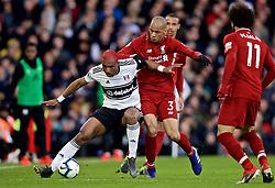 LONDON, ENGLAND - Sunday, March 17, 2019: Fulham's Ryan Babel (L) and Liverpool's Fabio Henrique Tavares 'Fabinho' (R) during the FA Premier League match between Fulham FC and Liverpool FC at Craven Cottage. (Pic by David Rawcliffe/Propaganda)