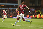 Aston Villa striker(on loan from Chelsea) Tammy Abraham (18) scores a goal and celebrates  4-4 during the EFL Sky Bet Championship match between Aston Villa and Nottingham Forest at Villa Park, Birmingham, England on 28 November 2018.