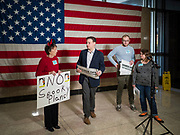 "31 OCTOBER 2019 - DES MOINES, IOWA: A small crowd of people came to the Neil Smith Federal Building, where US Senators Chuck Grassley's (R-IA) and Joni Ernst's (R-IA) offices are, to deliver a petition protesting the Senate's vote that critics say would allow ""spooky junk health insurance plans"" with limited coverage and would allow insurance companies to deny coverage to people with pre-existing conditions.           PHOTO BY JACK KURTZ"