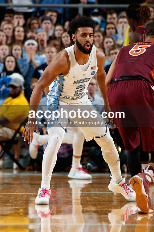 CHAPEL HILL, NC - JANUARY 26: Joel Berry II #2 of the North Carolina Tar Heels guards Justin Robinson #5 of the Virginia Tech Hokies on January 26, 2017 at the Dean Smith Center in Chapel Hill, North Carolina. North Carolina won 91-72. (Photo by Peyton Williams/UNC/Getty Images) *** Local Caption *** Joel Berry II;Justin Robinson