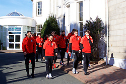 DUBLIN, REPUBLIC OF IRELAND - Friday, March 24, 2017: Wales' Hal Robson-Kanu, Neil Taylor, Chris Gunter and Aaron Ramsey during a pre-match team walk around Portmarnock Hotel And Golf Links ahead of the 2018 FIFA World Cup Qualifying Group D match against Republic of Ireland. (Pic by David Rawcliffe/Propaganda)