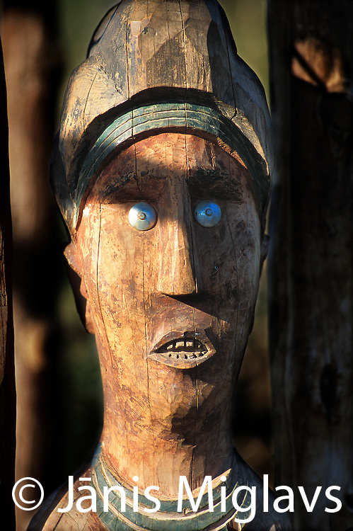 Statues, called Wakas, are errected for heros of the Konso tribe in the Omo region of Ethiopia.